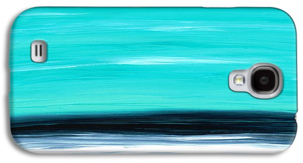 Ocean Paintings Galaxy S4 Cases - Aqua Sky - Bold Abstract Landscape Art Galaxy S4 Case by Sharon Cummings