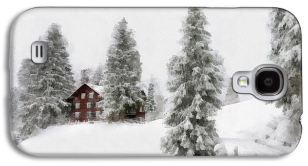 Snow-covered Landscape Digital Art Galaxy S4 Cases - Aquarell - Beautiful winter landscape with trees and house Galaxy S4 Case by Matthias Hauser