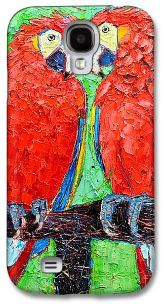Yellow Beak Paintings Galaxy S4 Cases - Ara Love A Moment Of Tenderness Between Two Scarlet Macaw Parrots Galaxy S4 Case by Ana Maria Edulescu