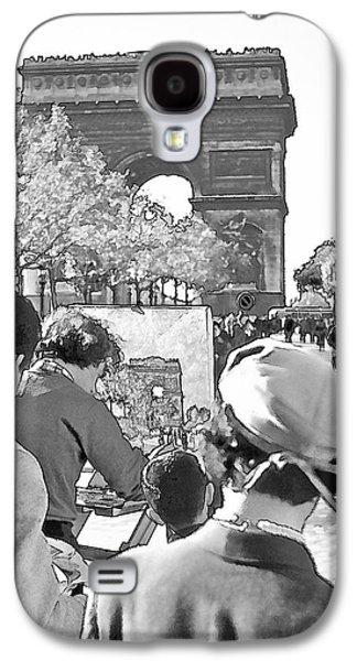 Painter Photo Photographs Galaxy S4 Cases - Arc de Triomphe Painter - B W Galaxy S4 Case by Chuck Staley