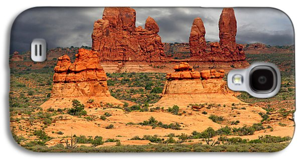 Surreal Landscape Galaxy S4 Cases - Arches National Park - A picturesque drama Galaxy S4 Case by Christine Till