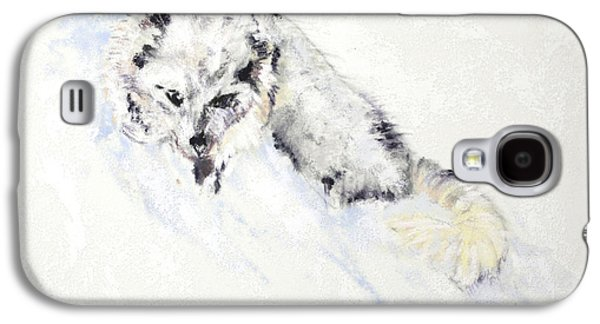 Fox Kit Paintings Galaxy S4 Cases - Arctic Fox Kit Galaxy S4 Case by Sandy Brooks