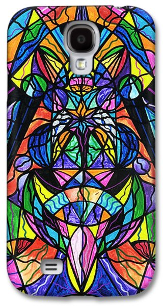 Grid Paintings Galaxy S4 Cases - Arcturian Awakening Grid Galaxy S4 Case by Teal Eye  Print Store