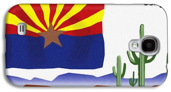 Sonora Paintings Galaxy S4 Cases - Arizona flag Galaxy S4 Case by Lanjee Chee