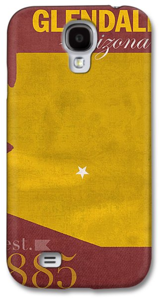 Universities Mixed Media Galaxy S4 Cases - Arizona State University Sun Devils Glendale College Town State Map Poster Series No 012 Galaxy S4 Case by Design Turnpike
