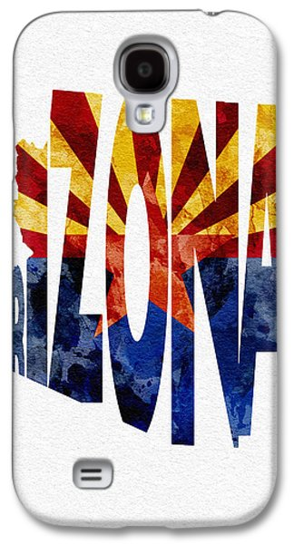 Abstracts Pyrography Galaxy S4 Cases - Arizona Typographic Map Flag Galaxy S4 Case by Ayse Deniz