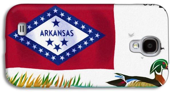 Arkansas Paintings Galaxy S4 Cases - Arkansas flag Galaxy S4 Case by Lanjee Chee