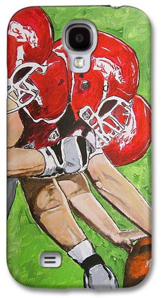Arkansas Paintings Galaxy S4 Cases - Arkansas Razorbacks Football Galaxy S4 Case by Carol Blackhurst