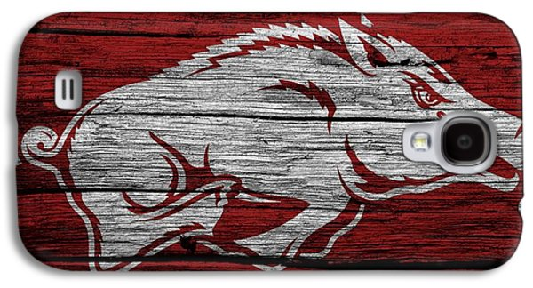 Arkansas Razorbacks On Wood Galaxy S4 Case by Dan Sproul