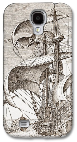 Sailboats Drawings Galaxy S4 Cases - Armed Three-master On The Open Sea Galaxy S4 Case by Pieter the Elder Bruegel