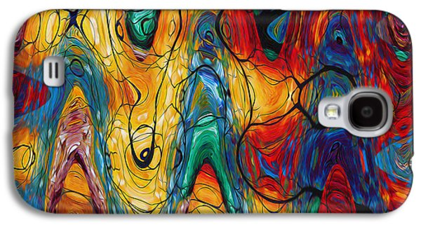Transparency Geometric Galaxy S4 Cases - Art abstract vibrant colorful background Galaxy S4 Case by Lanjee Chee