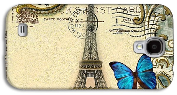Fantasy Realistic Still Life Mixed Media Galaxy S4 Cases - Art Deco swirls butterfly Eiffel Tower Paris Galaxy S4 Case by Cranberry Sky