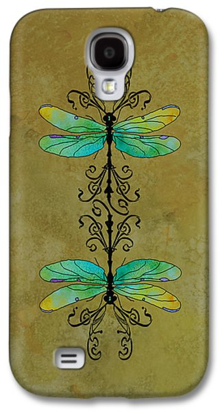 Flies Galaxy S4 Cases - Art Nouveau Damselflies Galaxy S4 Case by Jenny Armitage