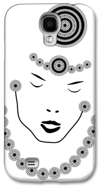 Ink Drawing Drawings Galaxy S4 Cases - Art Nouveau Portrait Galaxy S4 Case by Frank Tschakert