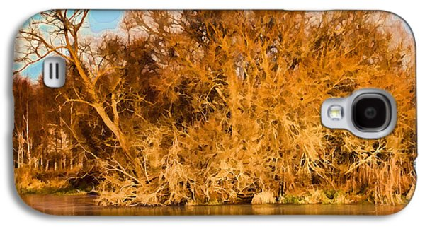 Trees Reflecting In Creek Galaxy S4 Cases - Artistic Big Tree Colored Coloured #orange By Sun On January 2 2015 Besides The Creek Of Enkoping Galaxy S4 Case by Leif Sohlman