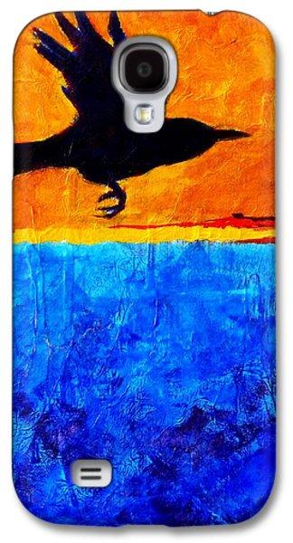 Yellow Beak Paintings Galaxy S4 Cases - As the Crow Flies Galaxy S4 Case by Nancy Merkle