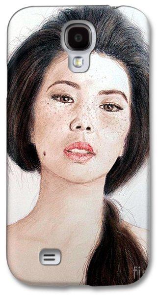 Beauty Mark Mixed Media Galaxy S4 Cases - Asian Beauty Galaxy S4 Case by Jim Fitzpatrick