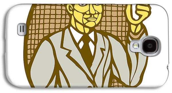 Linoleum Print Galaxy S4 Cases - Asian Scientist Test Tube Woodcut Linocut Galaxy S4 Case by Aloysius Patrimonio