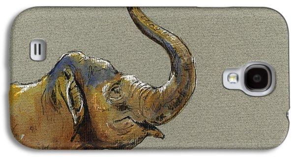 Drawing Galaxy S4 Cases - Asiatic elephant head Galaxy S4 Case by Juan  Bosco