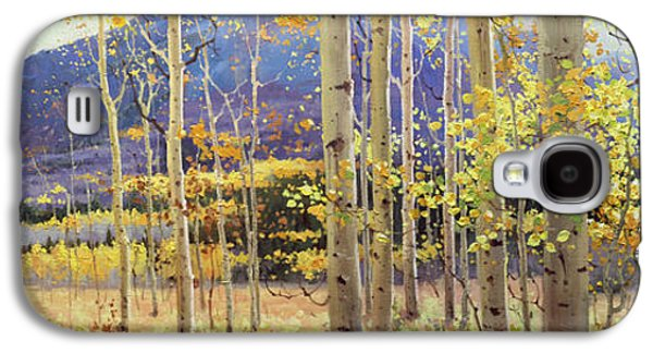 Sunset Greeting Cards Galaxy S4 Cases - Panorama view of Aspen Trees Galaxy S4 Case by Gary Kim