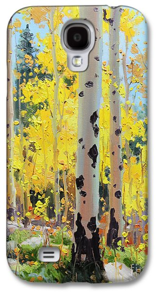 Sunset Greeting Cards Galaxy S4 Cases - Aspens in Golden Light Galaxy S4 Case by Gary Kim