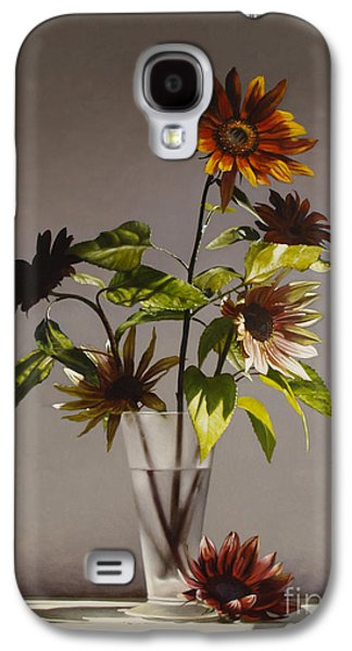 Sunflower Paintings Galaxy S4 Cases - Assorted Sunflowers Galaxy S4 Case by Larry Preston