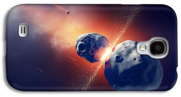 Asteroids Collide And Explode  In Space Galaxy S4 Case by Johan Swanepoel