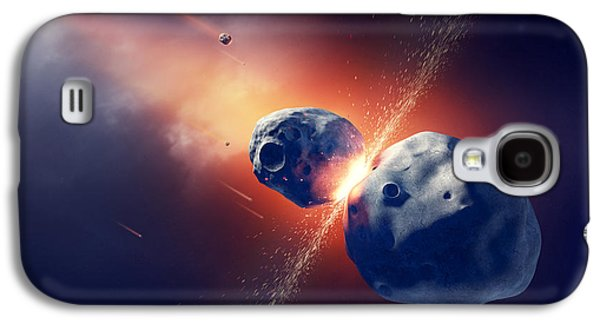 Burnt Digital Art Galaxy S4 Cases - Asteroids collide and explode  in space Galaxy S4 Case by Johan Swanepoel