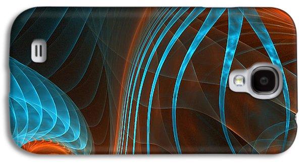 Orange Digital Art Galaxy S4 Cases - Astonished-Fractal Art Galaxy S4 Case by Lourry Legarde