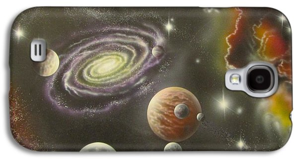 Cosmology Paintings Galaxy S4 Cases - Astronomy themed display Table-2 Galaxy S4 Case by Sam Del Russi