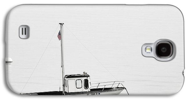 Foggy Ocean Galaxy S4 Cases - At Anchor Bar Harbor Maine Black and White Square Galaxy S4 Case by Carol Leigh