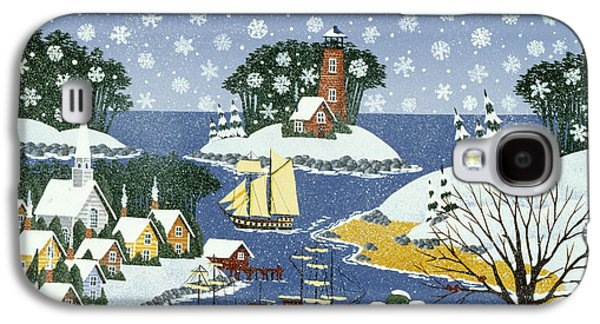 New England Snow Scene Paintings Galaxy S4 Cases - At the Neighbors Request Galaxy S4 Case by Merry  Kohn Buvia