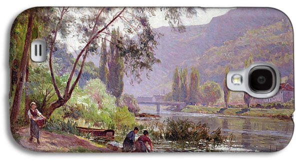 Laundry Paintings Galaxy S4 Cases - At The Rivers Edge Galaxy S4 Case by Emile Isenbart