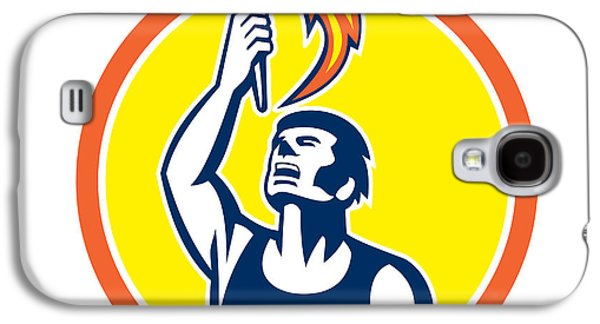 Athlete Digital Galaxy S4 Cases - Athlete Player Raising Flaming Torch Circle Retro Galaxy S4 Case by Aloysius Patrimonio