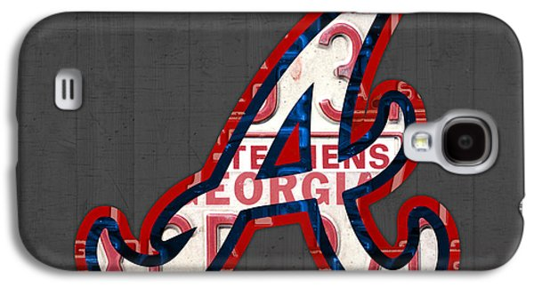 Brave Mixed Media Galaxy S4 Cases - Atlanta Braves Baseball Team Vintage Logo Recycled Georgia License Plate Art Galaxy S4 Case by Design Turnpike