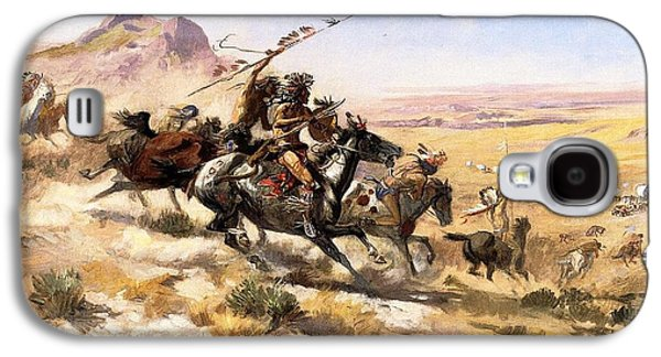 Western Art Digital Art Galaxy S4 Cases - Attack On The Wagon Train Galaxy S4 Case by Charless Russell