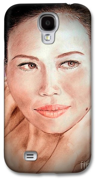 Beauty Mark Mixed Media Galaxy S4 Cases - Attractive Asian Woman with Her Hair Pulled Back Fade to Black Vrsion Galaxy S4 Case by Jim Fitzpatrick