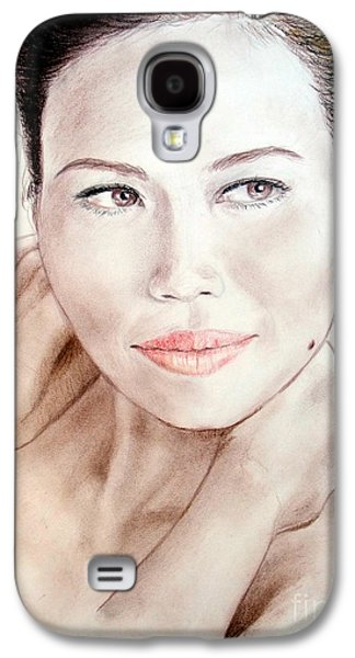 Beauty Mark Mixed Media Galaxy S4 Cases - Attractive Asian Woman with Her Hair Pulled Back Galaxy S4 Case by Jim Fitzpatrick