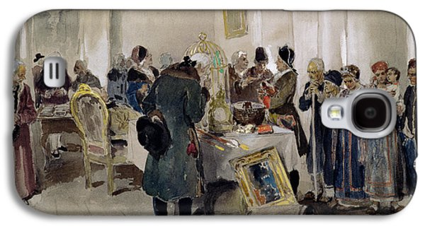 Slaves Galaxy S4 Cases - Auction Of Serfs, 1910 Wc On Paper Galaxy S4 Case by Klavdiy Vasilievich Lebedev