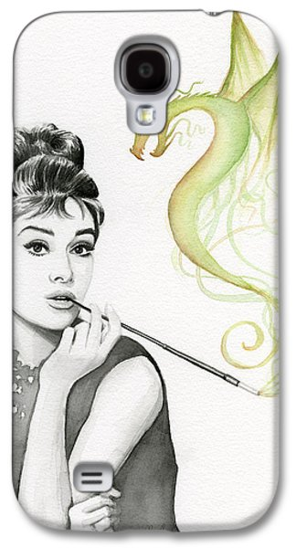 Illustration Paintings Galaxy S4 Cases - Audrey and Her Magic Dragon Galaxy S4 Case by Olga Shvartsur