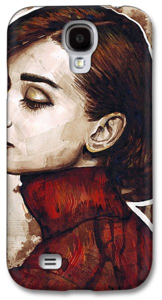 Print Mixed Media Galaxy S4 Cases - Audrey Hepburn Galaxy S4 Case by Olga Shvartsur