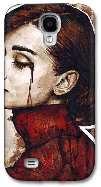 Celebrities Mixed Media Galaxy S4 Cases - Audrey Hepburn Portrait Galaxy S4 Case by Olga Shvartsur