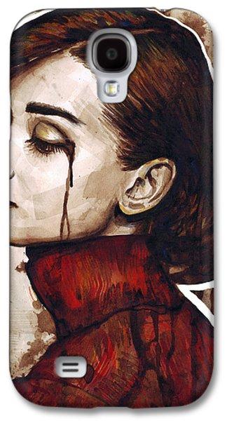 Ink Galaxy S4 Cases - Audrey Hepburn Portrait Galaxy S4 Case by Olga Shvartsur