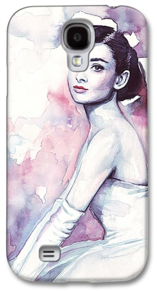 Illustration Paintings Galaxy S4 Cases - Audrey Hepburn Purple Watercolor Portrait Galaxy S4 Case by Olga Shvartsur