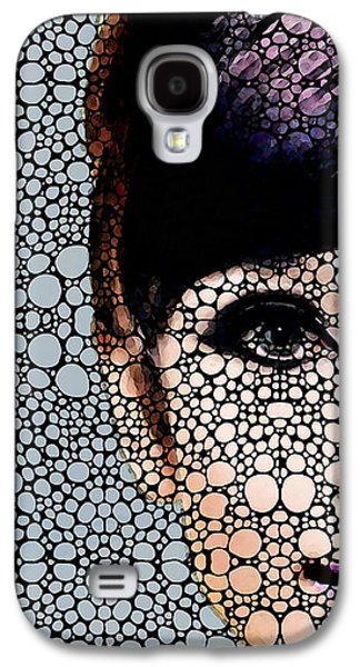 Celebrities Mixed Media Galaxy S4 Cases - Audrey Hepburn - Stone Rockd Art By Sharon Cummings Galaxy S4 Case by Sharon Cummings