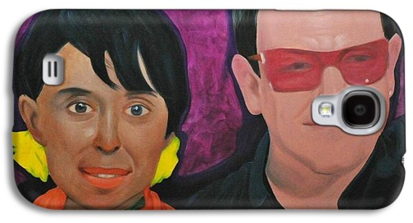 Bono Paintings Galaxy S4 Cases - Aung San Suu Kyi and Bono Galaxy S4 Case by Norge Reichenbach