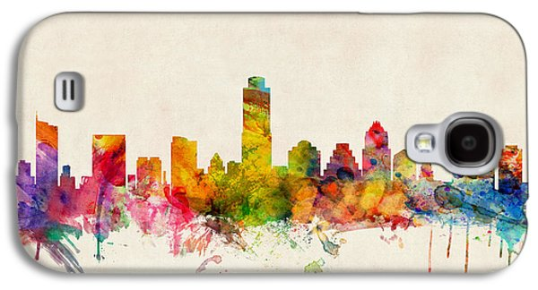 Cityscape Digital Galaxy S4 Cases - Austin Texas Skyline Galaxy S4 Case by Michael Tompsett