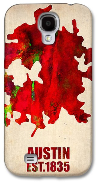 World Map Poster Digital Galaxy S4 Cases - Austin Watercolor Map Galaxy S4 Case by Naxart Studio
