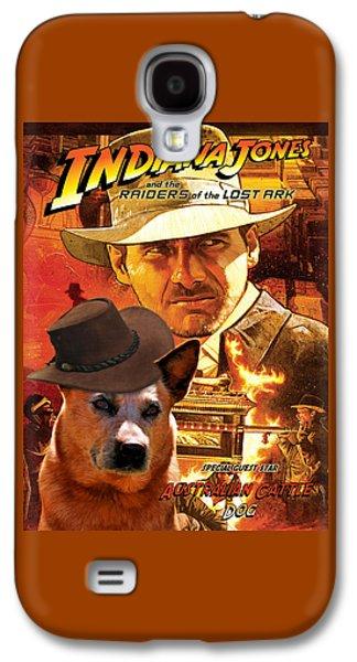 Cattle Dog Paintings Galaxy S4 Cases - Australian Cattle Dog Art Canvas Print - Indiana Jones Movie Poster Galaxy S4 Case by Sandra Sij