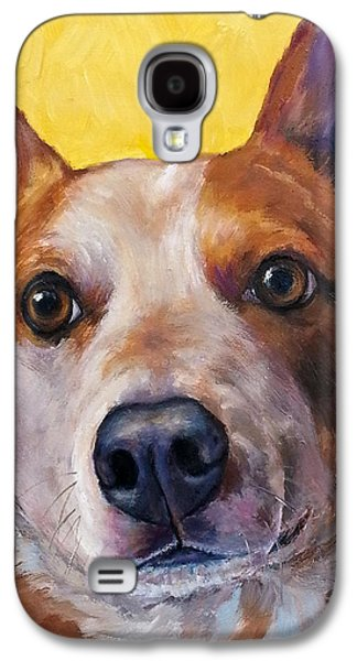 Cattle Dog Galaxy S4 Cases - Australian cattle dog red heeler on yellow Galaxy S4 Case by Dottie Dracos